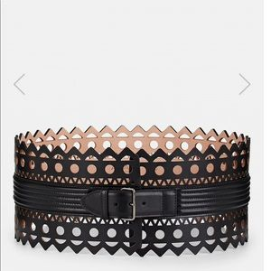 ALAIA wide laser cut leather corset belt